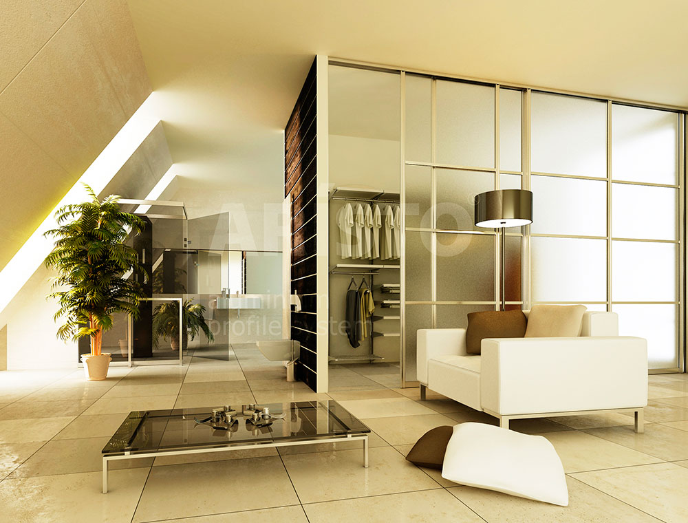 Гардеробная на мансардном этаже, двери-купе матовое стекло, профиль ARISTO