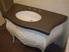 Радиусная столешница, раковина с монтажом под столешницу